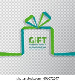 Gift in the style of origami ribbon on transparent background, vector illustration