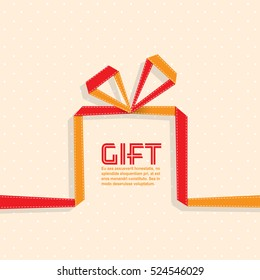 Gift in the style of origami ribbon, gift.  vector illustration.