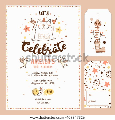 Gift Tags And Birthday Invitation Card Party Design Elements With Cat Birds