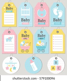 Gift tags and cards baby shower. Baby Arrival set. Vector illustration.