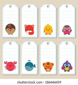 Gift tags with cute cartoon animals. Some blank space for your text included.