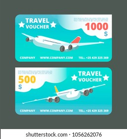 Gift travel voucher, travelling promo card. Ticket with flying airplane in the sky vector set. Illustration of airplane gift voucher, card for travel and vacation