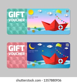 Gift travel voucher, travelling promo card,cute gift voucher certificate coupon design template, travel voucher origami boat sailing in the ocean,Vector illustration