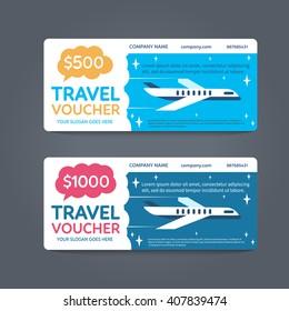 A gift Travel voucher. Vector Flat voucher.