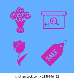 gift vector icons set. with square barcode box, rose bouquet, tulip and sale tag in set