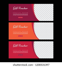 Gift voucher. Abstract poster vector. Facebook cover. Orange banner. Gym banner. Banner template set