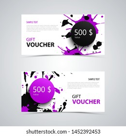 Gift voucher with abstract spots in purple black design