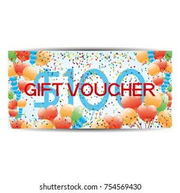Gift voucher with balls and cofetti.