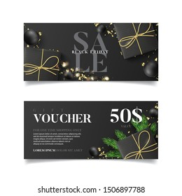 Gift voucher for Black Friday sale. Vector illustration with realistic gift boxes, light garlands, Christmas balls and confetti. Design of discount coupon usable for invitations or tickets.