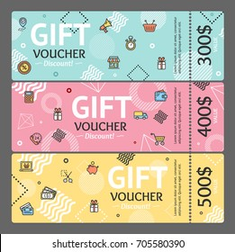 Gift Voucher Card Horizontal Set Template Monetary Value Coupon Geometric Shapes in Trendy Design Memphys Style. Vector illustration for Vouchers
