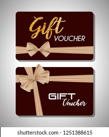 gift voucher card with ribbon beige