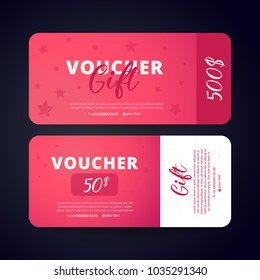Gift Voucher Card Set Template with stars on color red  background. Flat style vector illustration.