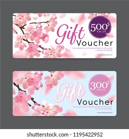Gift voucher card template value 500$ and 300$ with elements set of blooming beautiful cherry blossoms or sakura flowers background for business, flower shop, spa, hotel resort.