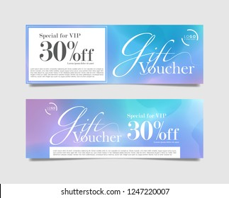 Gift Voucher card for in watercolor galaxy design. 30% off discount vector illustration