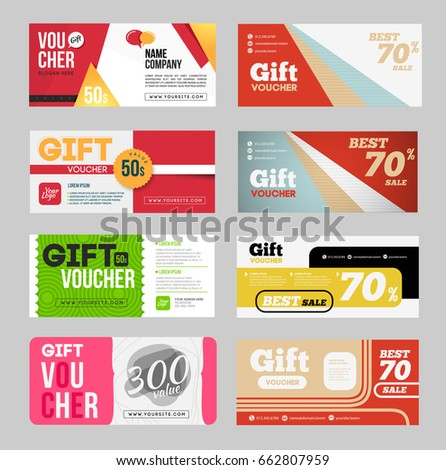 gift voucher certificate coupon design template stock vector