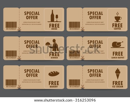 gift voucher certificate coupon food menu stock vector royalty free
