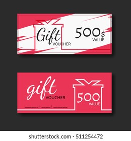 Gift voucher certificate coupon template with colorful and modern style. can be use for business shopping card, customer sale and promotion, layout, banner, web design. Vector Illustration.