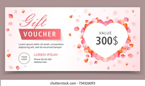 Gift voucher, certificate or coupon template for valentines or womans day. Eps 10 vector illustration. Background for invitation, shop, beauty salon, spa. Valentine's Day background.