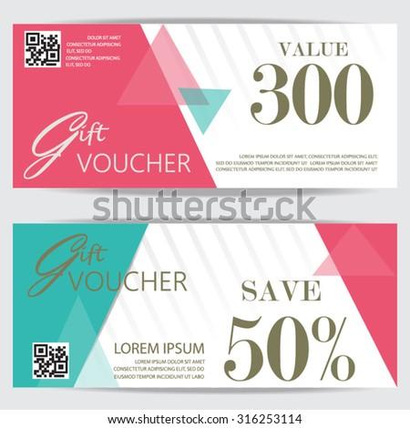 Gift Voucher Certificate Coupon Template Cute Stock Vektorgrafik