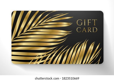 Gift Voucher/ Gift certificate with exotic luxury gold luxe palm branch isolated on black background. Tropical premium template useful for VIP invitation, rich golden coupon design