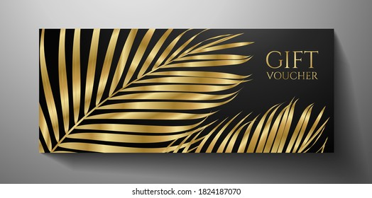 Gift Voucher/ Gift certificate with gold luxe palm branch isolated on black background. Premium template useful for vip invitation, golden coupon design