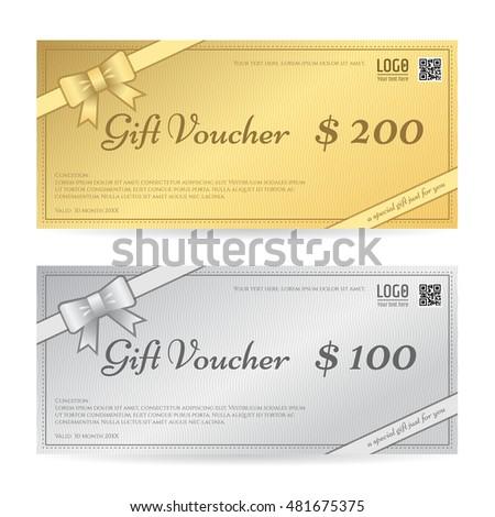 Gift Voucher Gift Certificate Template Ribbon Stock Vector Royalty