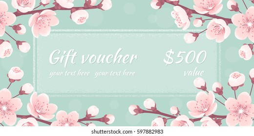 Gift voucher with cherry blossom, spring flowers. Retro vector illustration. Bokeh background. Place for your text