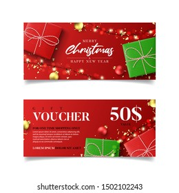 Gift voucher for Christmas and New Year sale. Vector illustration with realistic gift boxes, light garlands, Christmas balls and confetti. Design of discount coupon usable for invitations or tickets.
