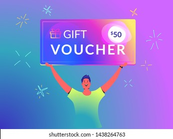 Gift voucher concept vector illustration of young man holds over his head big brilliant coupon card like a winner of a marketing offer. Happy bright people using gift cards on gradient background