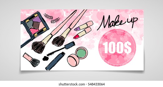 Gift voucher of Cosmetics / Pink Background Vector / Make clipping mask