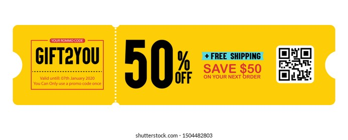 Gift Voucher with Coupon Code Vector , Discount Offer Graphic with Promo Code