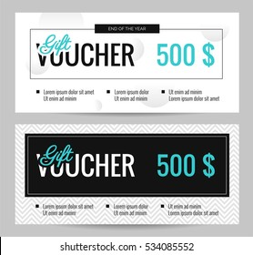 Gift Voucher Coupon discount. Set of elegant gift certificate templates black and white. Shopping concept.  Vector flat illustration
