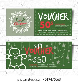 gift voucher coupon template with Christmas and New Year pattern. Vector illustration