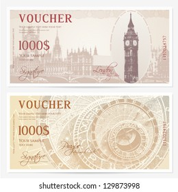 Gift Voucher (coupon) template with guilloche pattern (watermarks). Background with Big Ben (London),  Astronomical Clock (Prague) usable for coupon, banknote, ticket, currency etc. Vector