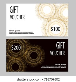 Gift voucher design in golden, black and white colors. Vector template for gift coupon, certificate, flyer, invitation, banner.