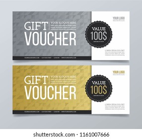 Gift voucher design template with gold and silver triangle background.