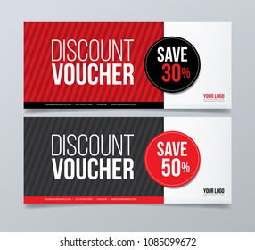 Gift voucher design template. Red and black geometrical banner background.