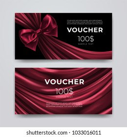 Gift voucher design template. Set of premium promotional card with realistic dark red bow and silk isolated on black background. Discount certificates, coupon or leaflet. Vector 3d illustration.