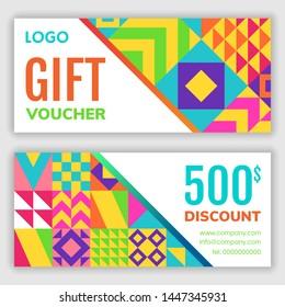 Gift voucher design template. Vector illustration