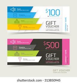 Gift voucher design template. Vector illustrations.