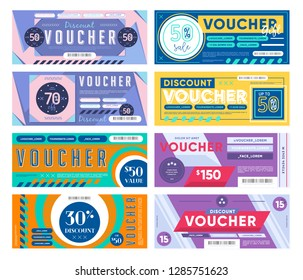 GIFT VOUCHER. Discount coupon template with different discount offer. Trendy voucher style different value.