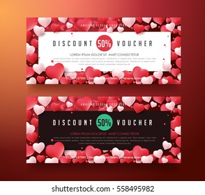 Gift Voucher discount template with Valentines day background . Vector illustration.banners.Wallpaper.flyers, invitation, posters,tag, brochure.