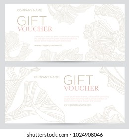 Gift voucher. Elegant festive gift coupon with gold flowers on a white background. Vector template for gift card, coupon and certificate for a spa, beauty salon, shops and restaurants