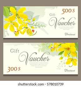 Gift voucher flower of Thailand, Cassia Fistula template, design background. vector illustration
