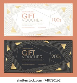 Gift voucher with geometric gold decor. Festive gift coupon with an abstract pattern of polygons  Vector template for gift card, coupon and certificate for a spa, beauty salon, shops and restaurants