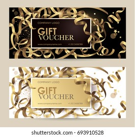 Gift voucher with gold ribbons serpentine and glitter. Christmas gift certificate. Vector template for gift card, coupon and certificate for a spa, beauty salon, shops, cosmetics and restaurants.