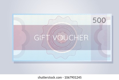 Gift Voucher with Guilloche Element. Use for banknote, diploma, certificate, note, currency, voucher or money design.