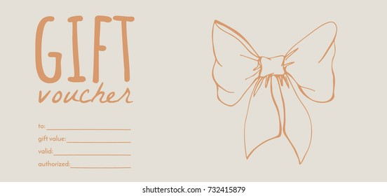 a gift voucher with hand drawn elements; creative vector banner with a bow knot or ribbon;  design concept for gift coupon, invitation, certificate, flyer, ticket.
