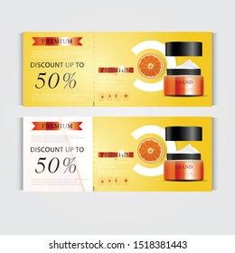 Gift voucher hydrating facial cream for annual sale or festival sale. orange and black cream mask bottle isolated on glitter particles background. Banner graceful cosmetic ads, illustration.