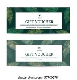 Gift Voucher Leaf, green color template for Spa, Hotel Resort, Vector illustration.